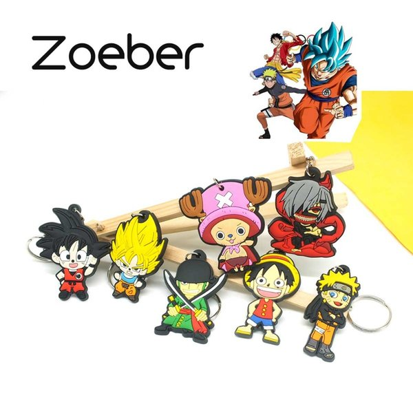 Zoeber NEW  Ball Cartoon Key ring children Anime keychain Luffy naruto ONE PIECE joba Key chain Silicone keyring bag chain