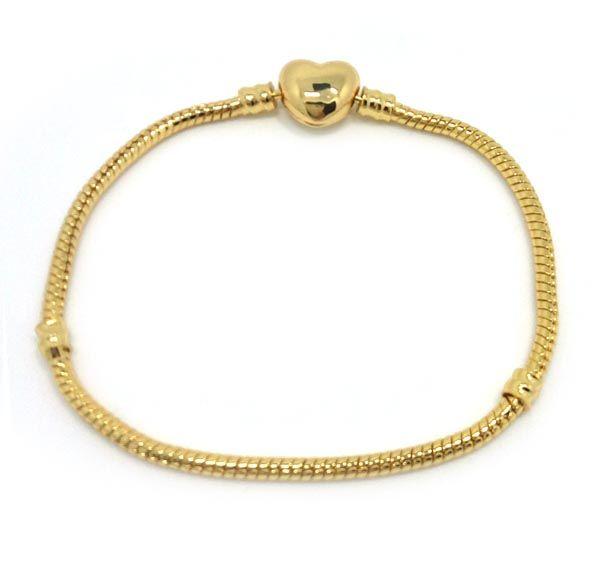 Nagelneue Qualität 100% 24k Gold überzogene Schlangenkette Herzform Spange Armband passen Mode europäischen Charme Armband DIY