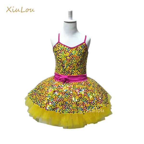 Новый сальса блестки болса-де-балет платье девочка ребенок желтый лебедь балета девушки взрослых пачка танец костюм Женщины настраиваемый