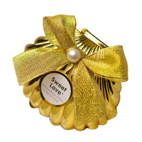 Sea Shell wedding party favor holder regalo de chocolate cajas de dulces con mariposa nudo Wedding Party shower favores regalos oro silve 20180511 #