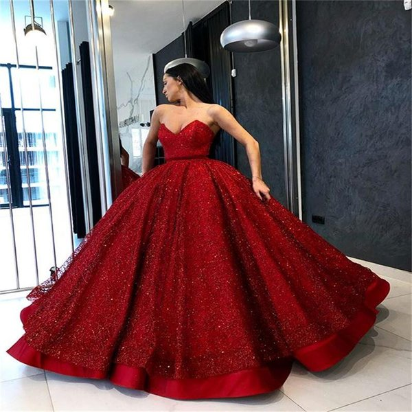 Shinning Dark Red Prom Dresses Sweetheart Satin Sequined Party Cocktail Dress Floor Length Celebrity Dresses Evening Wear African Vestidos