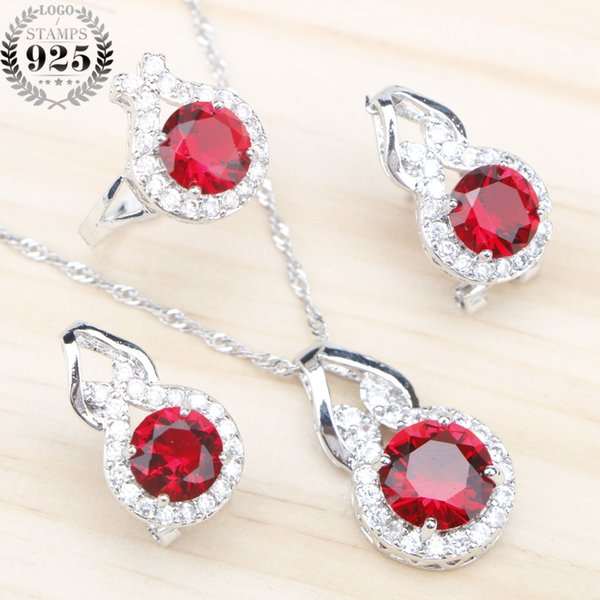 Wedding Jewelry Sets Women Silver 925 Jewellery Trendy Red Zircon Pendants Necklaces Rings Earrings with Stones Free Gift Box