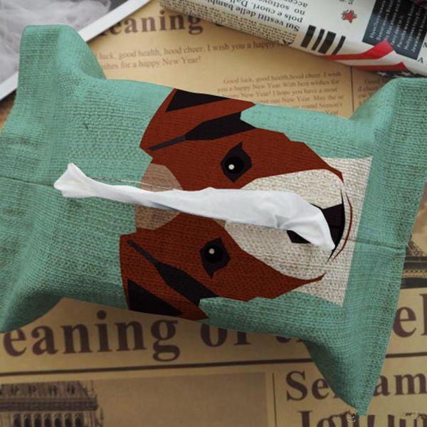 Wholesale- New Cartoon Design Home Decorative Tissue Box Cotton Flax Blending Car Vehicle Living Room Facial Tissue Box Case
