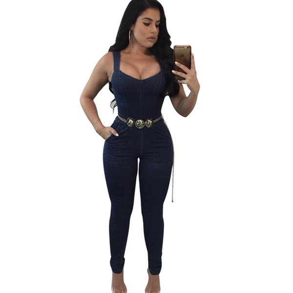 Sexy Skinny Jeans Rompers Womens Jumpsuits For Ladies Fashion Strap Sleeveless Slim Denim Long One Piece Pants With Belt