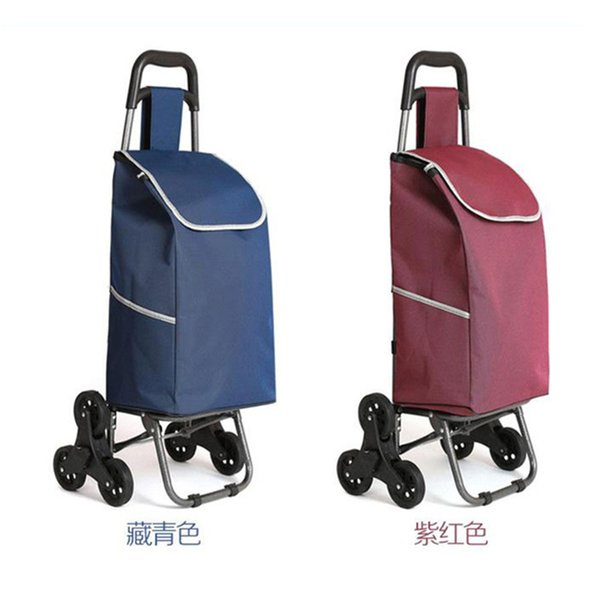 Three-wheeled folding cart lady or old shopping cart shopping hand puller trolley large-capacity portable home bags