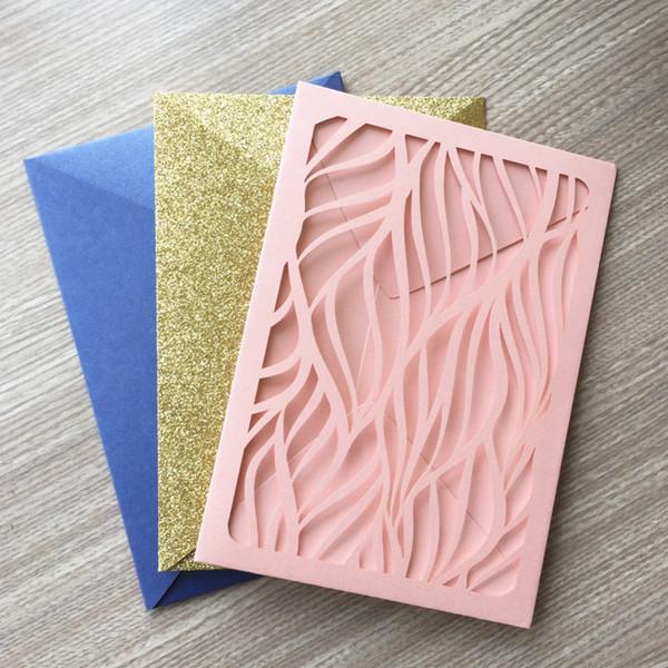 30 pçs / lote Delicate Laser Cut Convites De Papel De Pérolas De Casamento Cartão de Convite de Casamento Decorações de Aniversário Cartão de Presente