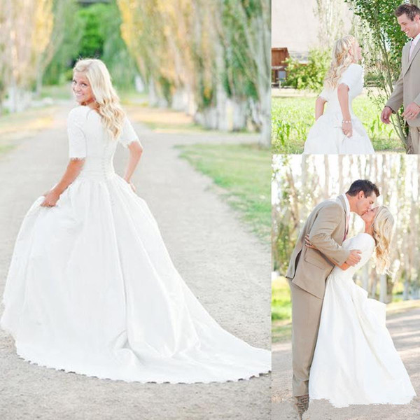 Modest Plus Size Wedding Dresses With Half Sleeves Full Lace Top Cheap Bohemian A-Line Court Train Satin Bridal Gowns Button Back