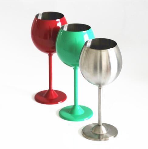 5 Colors 350ml Wine Glasses Stainless Steel Single Layer Cups Red Wine Cups Stem Wine Goblet CCA9253 50pcs