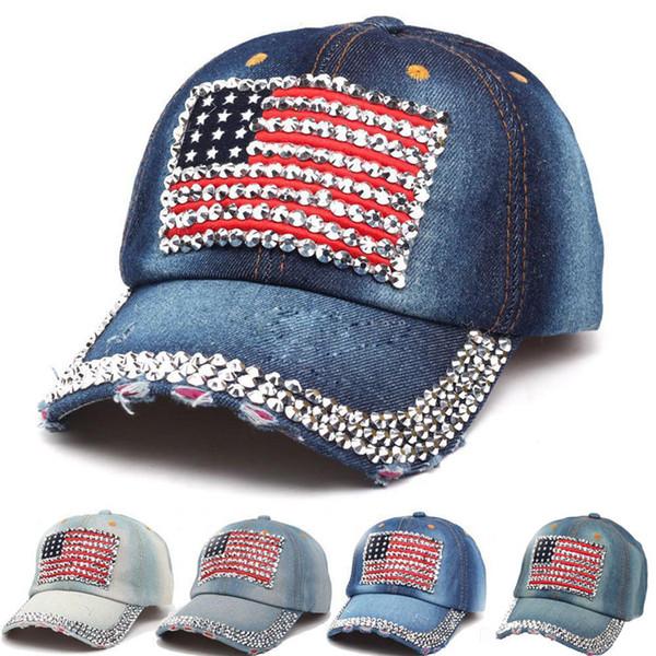 ... al por mayor sombreros. Gorras de béisbol de las mujeres 2018 Verano 4  de julio Sombrero de la bandera americana 51e5ca21415