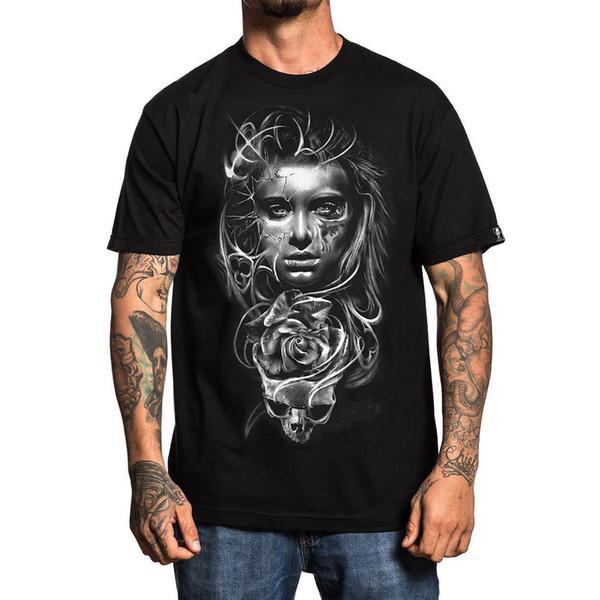 Угрюмый мужская YZ Asencio футболка черный татуированный череп Tee одежда одежда 2018 с коротким рукавом хлопок футболки человек одежда