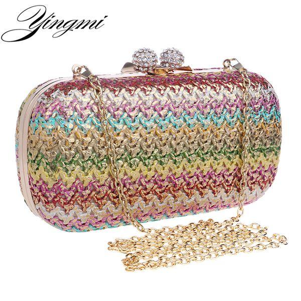 YINGMI Gestrickte Design Frauen Abendtaschen Diamanten Geldbörse Metall Tageskupplungen Messenger Bag Kette Umhängetaschen