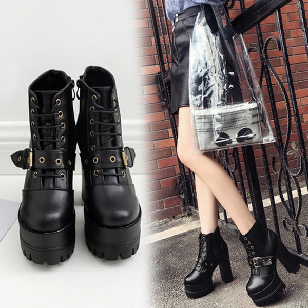 New Ultra High Heels Shoes Woman Punk Ankle Boots Women Classics Platform Booties Lace Up Shoes