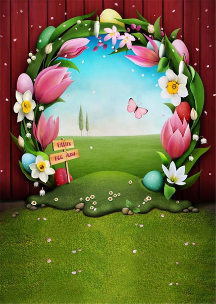 Easter Egg Hunt Photography Backdrops Red Wood Wall Floral Arched Door Spring Flowers Butterfly Green Grassland Baby Newborn Background