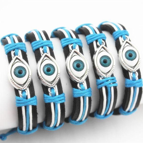 Commercio all'ingrosso di gioielli 12 pz tessuti a mano blue eye turchia evil eye braccialetti di cuoio avvolgere canapa braccialetti regali amuleto MB107
