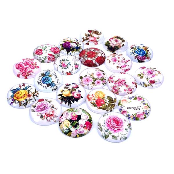 10 mm a 25 mm redonda rosas de la vendimia patrón de cristal cabujón para la joyería de bricolaje haciendo hallazgos componentes t006