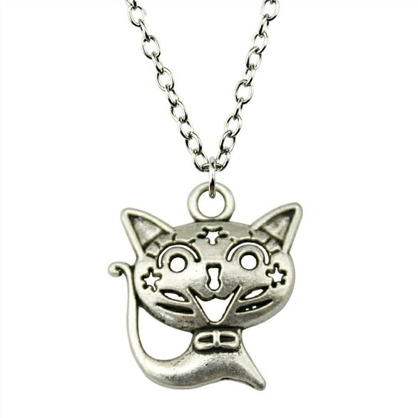 WYSIWYG 5 Pieces Metal Chain Necklaces Pendants Male Necklace Fashion Smile Cat 24x21mm N2-B12946