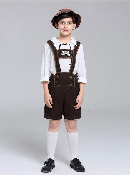 2018 New Child Oktoberfest Costumes Suspender Pant For Boys Cosplay Halloween Beer Festival Stage Clothing Performance Costume