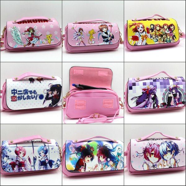 Card Captor Sakura Re:Life in different world from zero Pencil box Stationery Cosmetic Shoulder strap Make-up Bags Cases 8 style