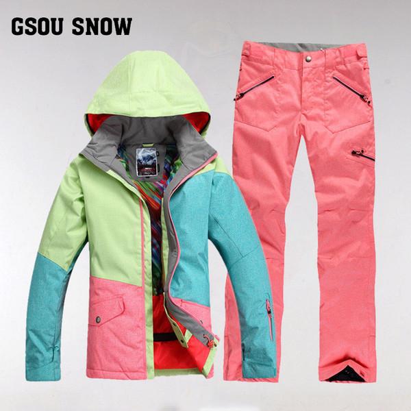 Großhandel GsousnowPlus Größe Damen Skifahren Ski Bekleidung Wasserdicht Wandern Outdoor Jacke Snowboard Jacke Ski Anzug Frauen Large Size Snow Jacken
