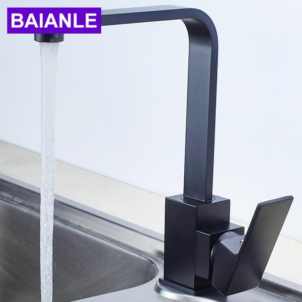BAIANLE кухонный кран одно отверстие один смешанный черный водопроводный кран квадратный медный кран