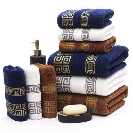 luxury 100% cotton bath towel Towel Set 3pc/Set brand serviette adulte embroidery large beach towels 70x140cm and2pcs face towel