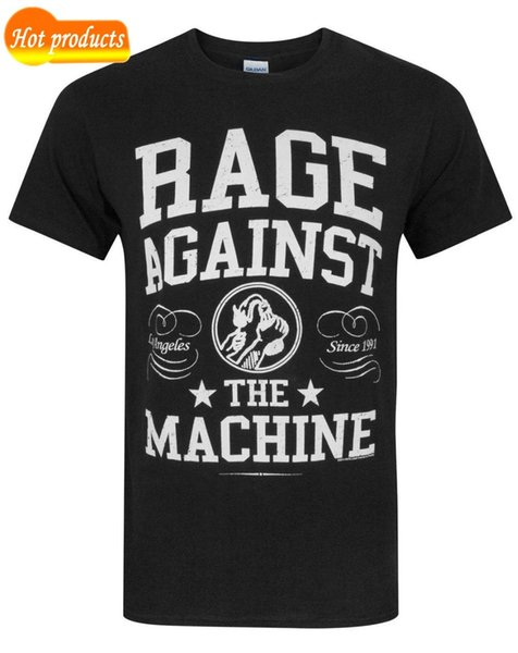 Fashion Funny Tops Tees Rage Against The Machine Crown College Men's T-Shirt Cartoon tee shirt homme high quality top tees