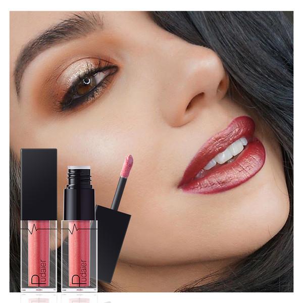 2018 Fashion Women Pudaier Metallic Lipstick Lips Makeup Long Lasting Pigment Nude Gold Nude Liquid Velvet Metal Lipgloss Gift