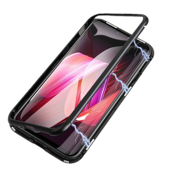 New Cases Magnetic Adsorption Metal Phone Case Full Coverage Aluminum Alloy Frame with Tempered Glass Back Cover for iPhone 6 7 8 Xs max XR
