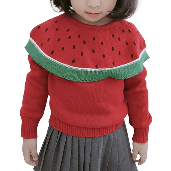 2018 Autumn Baby Girls Sweaters Cape Children Tops Watermelon Pullover Cloak Christmas Clothes Baby Girls Sweater