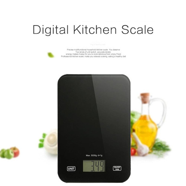 Digital Kitchen Scale 5Kg/1g Cooking Baking Measurements Tempered Glass LCD Display Food Weight Balance Tare Function