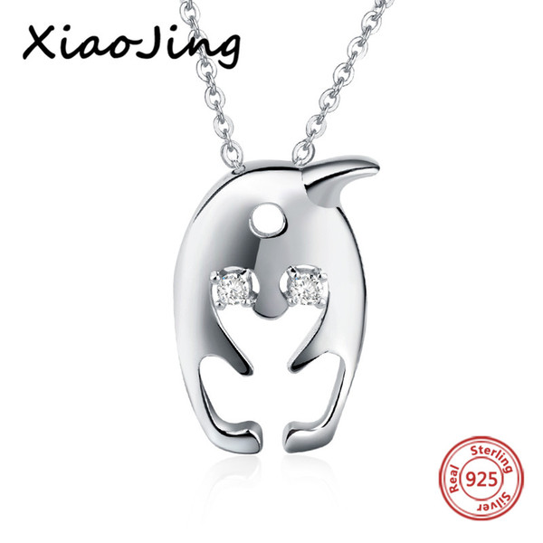 New arrival 925 sterling silver diy design lovely penguin pendant chain necklace European fashion jewelry making women gifts