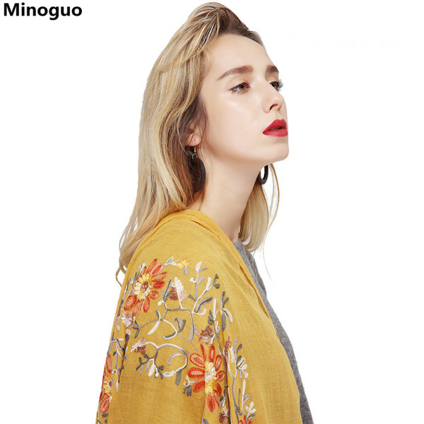 Minoguo Women Shawls Cotton  Linen Scarf Wraps Embroidered Sunflower Floral Retro Ethnic Style 2018 Long Beach Scarves