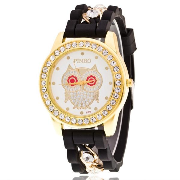 새로운 패션 브랜드 제네바 캐주얼 쿼츠 시계 여성 크리스탈 올빼미 패턴 시계 Relogio Feminino 숙녀 복장 손목 시계 많은 50pcs