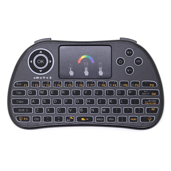 Colorful RGB Backlit 2.4G Mini Wireless Keyboard Air Mouse with Touchpad for Android TV Box, Mini PC, Projectors, Laptops