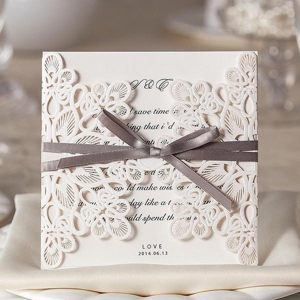 Wholesale-Free Shipping Sample Laser Cut White Wedding Invitations Cards (1 Card +1 Ineer sheet +1 Envelope+1 seal)