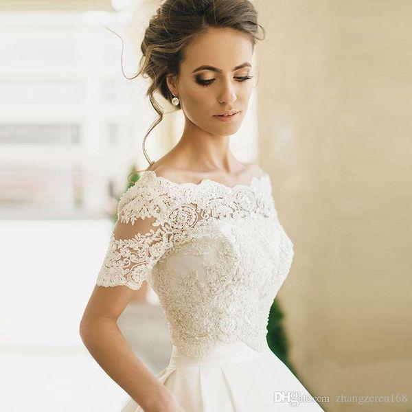 Luxury Off the Shoulder White Short Sleeve Beaded Lace Bridal Shawl Jackets Wedding 2019 Zipper Wedding Accessories