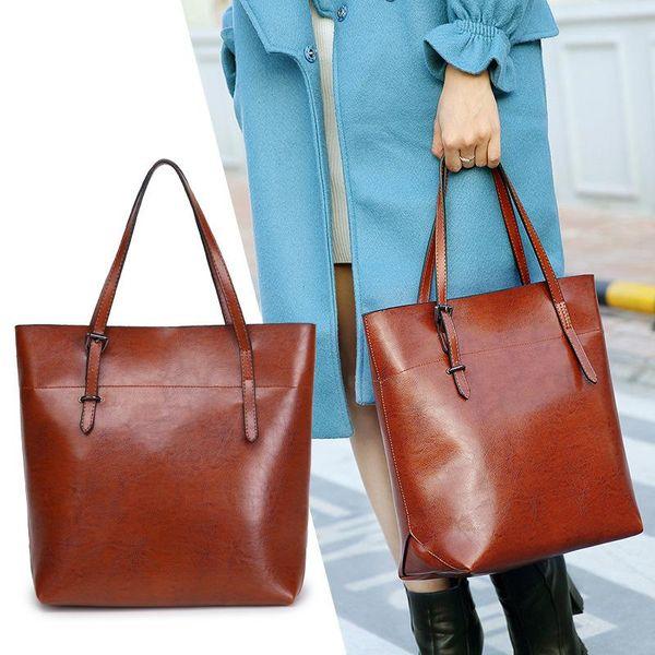 Women Oil Wax Cowhide Sling Shoulder Handbag Office Lady PU Leather Tote Bag Multi-Capacity Fashion Female Top Handle Bags On Sale