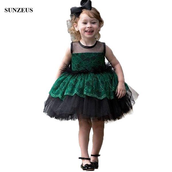 Grüne spitze schwarz kinder abendgesellschaft kleid mit federn ballkleid tutu kurze kinder formelle kleidung tüll blumenmädchen kleid