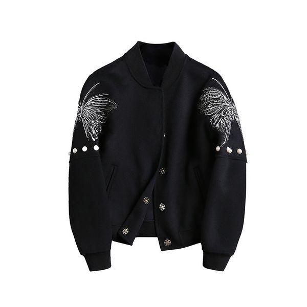 Women Jackets 2018 New Autumn Winter Embroidery Beaded Short Jacket Female Black Large Size Coats Fashion Women Outerwear NO543
