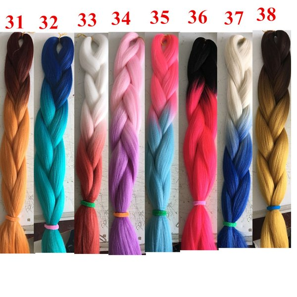 Xpression Synthetic Braiding Hair Ombre Kanekalon Jumo Braids Twist Two Tone Synthetic Hair Extensions In Stock