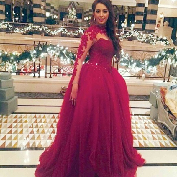 2019 Fashion Burgundy High Collar Lace Appliqued Beaded Long Sleeve Prom Dresses Ball Gown Evening Party Dresses