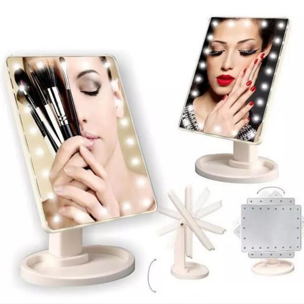 Componga el espejo LED 360 grados de rotación Pantalla táctil Vestidor de baño Cosmético Plegable Portátil Compacto Bolsillo Con 22 LED Luz Maquillaje Mirr
