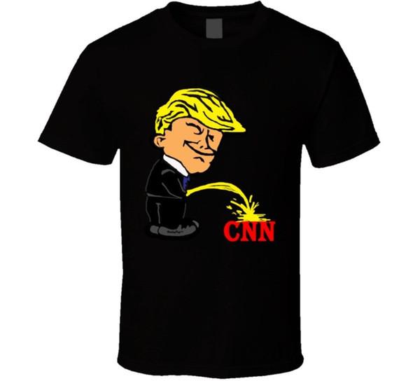 Donald Trump Pissing On Cnn Cartone animato divertente camicia politica, T-shirt nera da uomo Cool Casual Pride T Shirt Uomo Unisex Nuovo