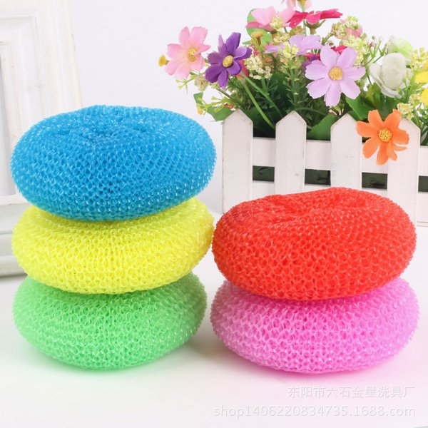 Dishwashing direct sales kitchen plastic mesh pan washing brush wholesale household pots floating stains dishes brush