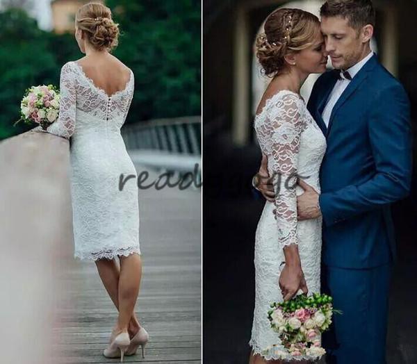 2018 Elegant Short Summer Lace Wedding Dresses Knee Length Simple White Ivory Short Sheath Wedding Dresses Bridal Gowns With Long Sleeves