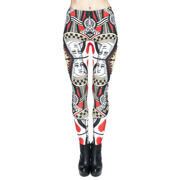 Women Leggings Dama Kier Poker Queen of Hearts 3D Graphic Print Girls Workout Full Length Skinny Stretchy Pants Lady Tight Trousers (J29508)