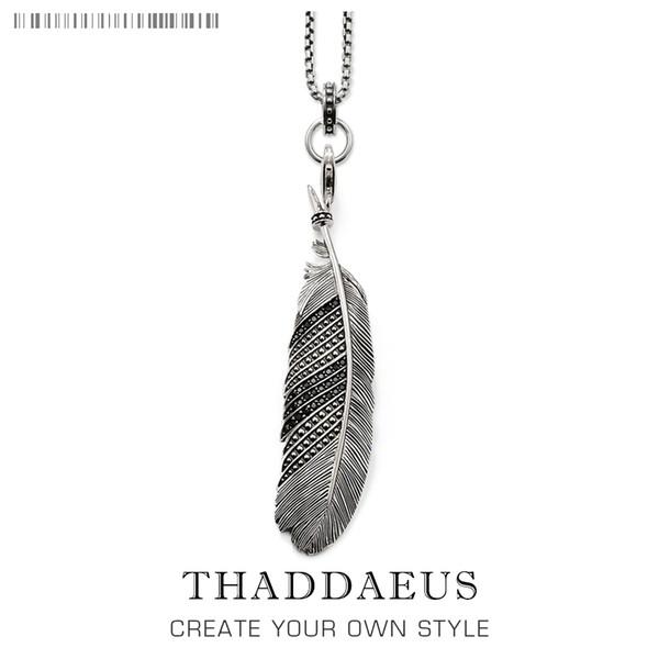 Collana con catena a maglie in piuma, 2017 Brand New Silver Ts Gioielli di moda stile Thomas Rebel Cross Bijoux regalo per uomo donna amico