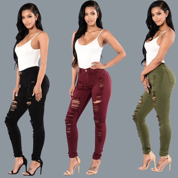 European and American Style Scratched Knee Hole Women Jeans Skinny Denim Pants Green Red Black Color Stretchy Pencil Pants Slim Fit