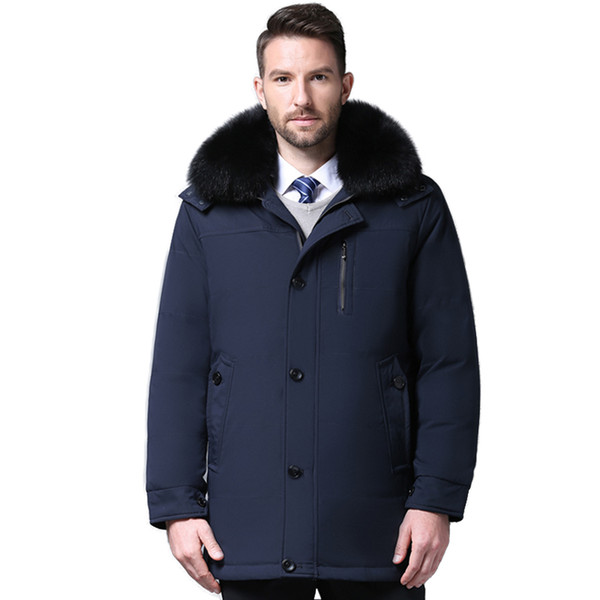 2018 Kleidung Jacke Dicke warme Daunenjacke für Männer mittleren Alters Hochwertiger Pelzkragen Mit Kapuze Daunenjacke XD601