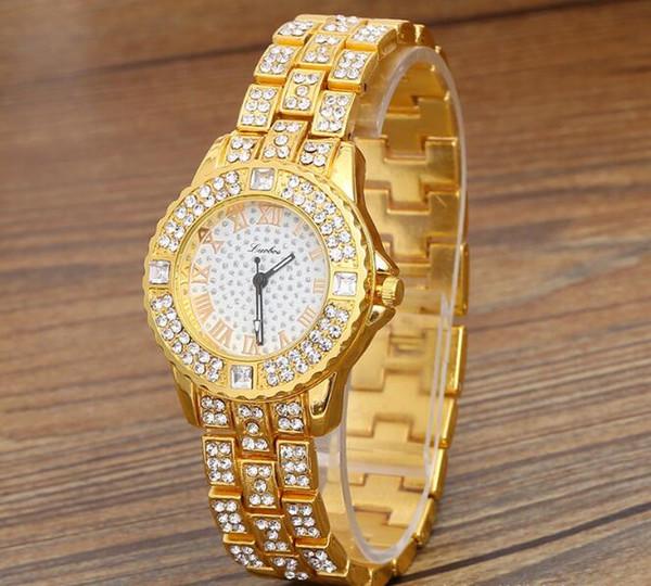 Altın simli Gül Altın narin Lüks kristal QUARTZ Roma çelik şerit Bilek İzle Yüksek dereceli moda kadın kuvars Bilek İzle